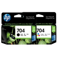 Tinta hp 704 color dan black paket combo ink catridge hitam warna ASLI