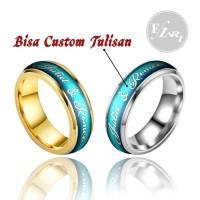 CINCIN CUSTOM NAMA / TULISAN POLOS WARNA SILVER / EMAS TITANIUM COUPLE - Silver - Maroon, Size 6