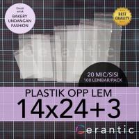 OPP LEM 14 x 24 +3 cm Plastik Bening Seal Bungkus Roti Undangan 14x24