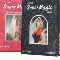 Super Magic Man Tissue Hitam dan Merah isi 6 sachet
