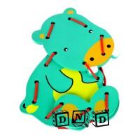 Mainan Edukatif Edukasi Anak Papan Jahit Menjahit Kudanil Hippo Lacing