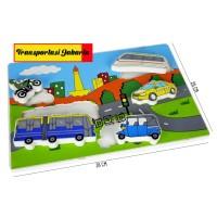 Mainan Edukasi Anak Wooden Puzzle Kayu Chunky Transportasi Jakarta