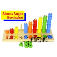 Mainan Edukasi Anak Wooden Puzzle Kayu Sempoa Angka Bertingkat Hitung