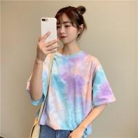 Pakaian Wanita Tye Dye Atasan Kaos Oversize Model Longgar Korea Import