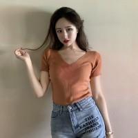 Kaos Polos Rajut Top Wanita T-shirt Rajutan Kasual Lengan Pendek Blus