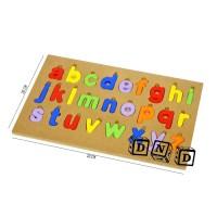 Mainan Edukasi Anak Wooden Puzzle Kayu Cat Alphabet Abjad Huruf Kecil