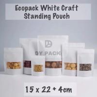 Standing pouch kraft white 15x22 | ziplock bag kertas | kemasan food