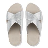 Fitflop Lulu Cross Slide Women Sandal - Silver Shimme