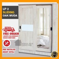 Lemari Pakaian 2 Pintu Sliding Cermin Full Sonora Oak Minimalis Kayu