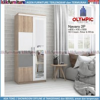 Lemari Navaro Olympic 2 Pintu Cermin Minimalis