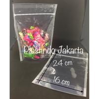 (per pack) standing pouch klip ziplock plastik pp bening berdiri 16x24