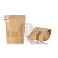 Standing Pouch/Stand Up Bag Brown Kraft Paper+Zip+Window - 12x20