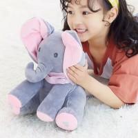 PEEK A BOO SINGING ELEPHANT BONEKA GAJAH NYANYI - ABU KUPING BIRU