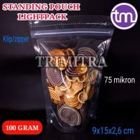 Plastik Kemasan 915 Snack Standing Pouch Bening Klip Zipper 100 gram