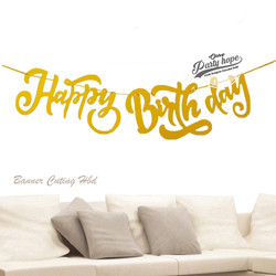 banner happy birthday latin gold / bunting flag hbd latin cutting 2