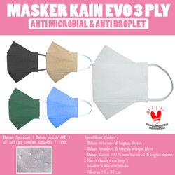 Masker Kain Evo 3 Ply Polos dewasa - Putih