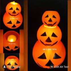 Keranjang Pumpkin Lampu Dekorasi halloween - M