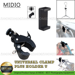 Midio Universal Clamp Dengan Holder Handphone Untuk Tripod Stand Mobil