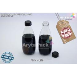 TP1489. Botol kaca bening 250ml RC tutup hitam plastik (second)