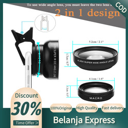 2in1 Lens 0.45X Wide Angle+12.5X Macro Lens Professional HD Phone Came - Hitam