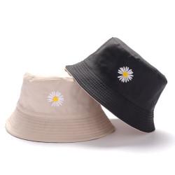 Topi Bucket Dua Sisi Anti Uv Motif Bordir Bunga Daisy Bahan Katun Twil - Krem - Hitam