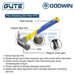 Palu Kambing Gagang Fiber PVC Godwin Uk 8 12 16 Polos / Gigi (Magnet)