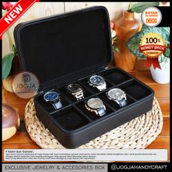 8 Slots Travel Watch Box Jumbo / Tempat Jam tangan / Kotak Jam Tangan - Full Black