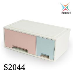 Oxihom S204 Series Laci Lemari Plastik Susun Kotak Penyimpanan Drawer - S2044 Biru Pink