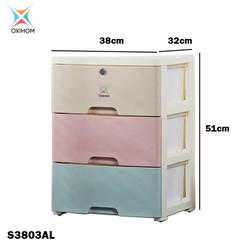 Oxihom S380AL Series Lemari Plastik Pakaian Laci Susun Drawer Cabinet - S3803AL 3 Laci