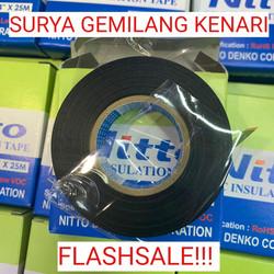 """NITTO ISOLASI LISTRIK ORIGINAL. tape hitam PVC 3/4"""" 25m ORIGINAL"""