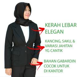 Blazer Wanita Hitam Formal Bahan Tebal Jahitan Rapi - XL