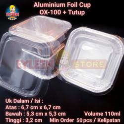 Aluminium Foil Cup OX-100 + Tutup | Aluminium Foil Tray OX100