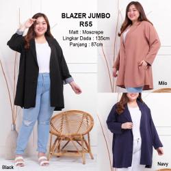 Blazer Jumbo Baju Outer Atasan Wanita Bigsize Lengan Panjang - Moren Hitam