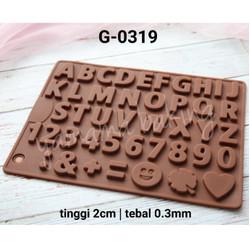 G-0319 Cetakan silikon coklat puding huruf angka nomer alfabet fondant