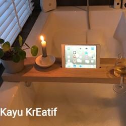 wooden tray bathtub kayu tebel super wood 90x20x3cm