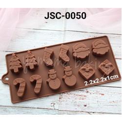 JSC-0050 Cetakan silikon coklat puding natal christmas sinterklas
