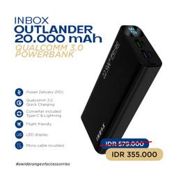 Inbox Outlander Powerbank 20.000 mAh – Support Fast Charging