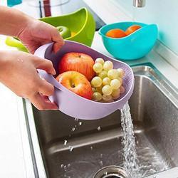 Wadah Baskom Saringan Cuci Beras Sayuran Buah Tirisan Penyaring Air