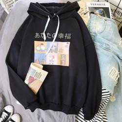 Sweater Hoodie Wanita Derry Jaket Hoodie Ukuran Fit to L - Hitam
