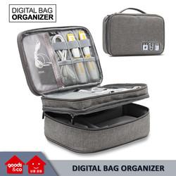 Double Layer Digital Storage Bag/ Tas Kabel USB Charger Organizer - Biru