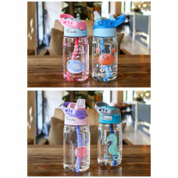Botol Minum Anak Sedotan Motif Animal Sea Country BPA Free 480ml B818 - Biru Muda