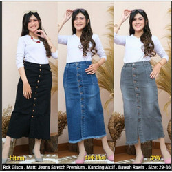Rok Jeans Panjang wanita Kancing Depan Murah