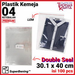 Plastik OPP LEM TEBAL 30.1x40 cm DOUBLE SEAL packing Baju Garment