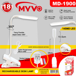 LAMPU BELAJAR LED JEPIT RECHARGEABLE TOUCH FLEXIBLE 360° MYVO
