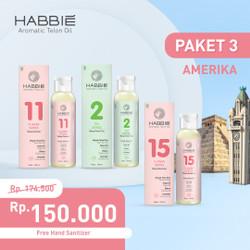 Habbie Aromatic Telon Oil - Paket Negara 3 botol TEA & FLOWER series