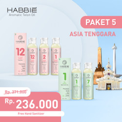 Habbie Aromatic Telon Oil - Paket Negara 5 botol TEA & FLOWER series