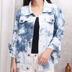 MYREDO - Jaket Jeans Wanita Oversize Motif Tie Dye Devita - Navy