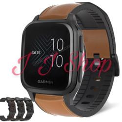 Strap Kulit Leather Silicone Rubber Watch Band Garmin Venu Sq Music