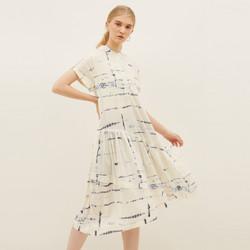 NONA Summer Dress Tie Dye Short Sleeve White Blue