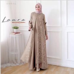 Jual Gamis Syari Brokat Terbaru Model Baju Gamis Kombinasi Brokat Laura Mocca All Size Jakarta Pusat Raja Manggaleh Tokopedia